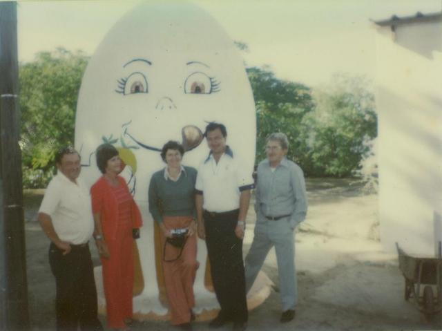 People pictured from left to right:  Norman Weber , Veronica Weber (Biggy's cousins that were visiting from Johannesburg), Mrs Lee (Teacher at Gonubie Primary School - still presently teaching there), Douglas Diesel and Snowy (Adriaan Barnard) posing with the Gonubie Egg (circa 1979) Photo credit: Malcolm Turner