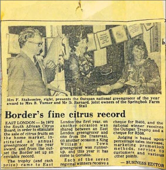 Daily Dispatch article about the Springbok Farm Stall receiving the National Greengrocer of the year award (December 1976)  Photo credit: Daily Dispatch